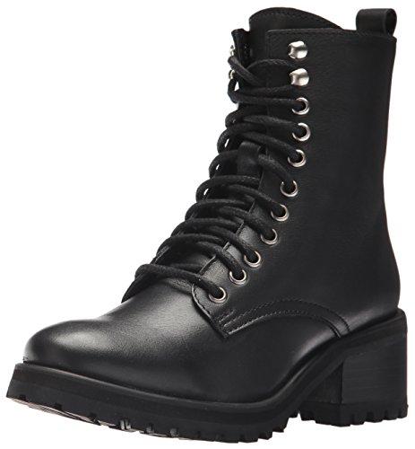 Steve Madden Women's Geneva Combat Boot, Black Leather, 5.5 M US (Troops Boots)