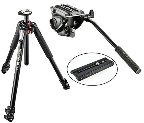 Manfrotto MT055XPRO3 Aluminium 3-Section Tripod kit w/ MVH500AH Pro Fluid Video Tripod Head with Flat Base and a Extra Calumet Sliding Plate w/ 1/4''-20 & 3/8'' Fixing Screws by Manfrotto