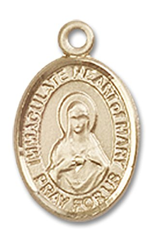 14 Karat Gold Immaculate Heart of Mary Medal Petite Charm Pendant, 1/2 Inch