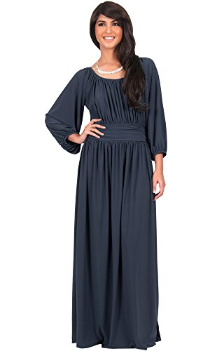 KOH KOH Plus Size Womens Long Sleeve Sleeves Vintage Peasant Empire Waist Fall Loose Flowy Fall Winter Casual Maternity Abaya Gown Gowns Maxi Dress Dresses, Slate Gray Grey 2XL 18-20