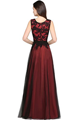 Maxi Longue Robe MisShow et Satin Cocktail Florale en Elgante de Soire Femme Tulle Rouge Chic Uaa0BR