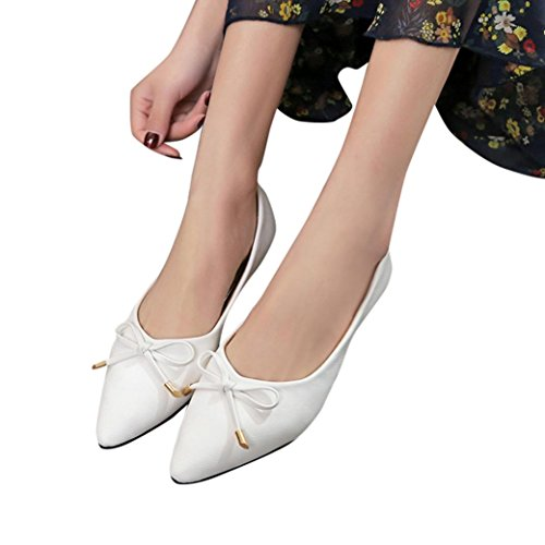 Fheaven Bowknot Shoes Casual Shoes White Women Loafers Soft Pointed Flat qqwrH74