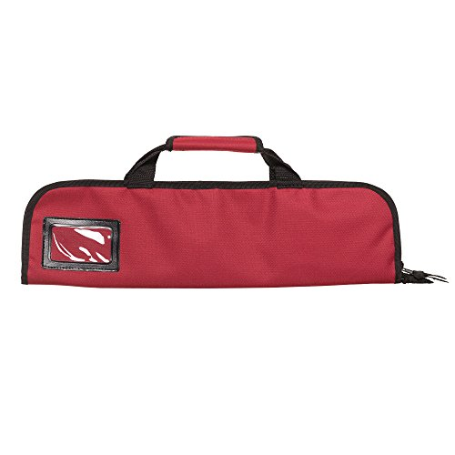 5 Pocket Padded Chef Knife Case Roll with 5 pc. Edge Guards (Red 5 Pocket bag w/5pc. Black Edge guards) by Ergo Chef (Image #2)