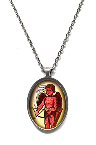 [Victorian Vault Heart Rose Skull Poe Gothic Poetry Pendant on Chain (Cupid with Bow)] (Cupid Costume Ballet)