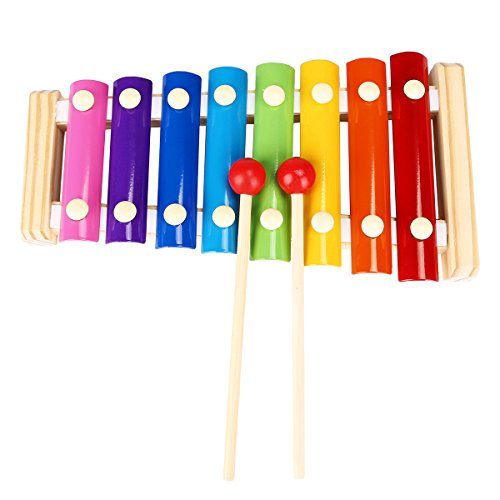 Blueseason Xylophone Musical Instruments Toys- Wooden 8 Key Notes Xylophone Toys Hand Knock Piano Music Instrument for Toddle Kid,Rainbow (This Is Halloween Piano Sheet Music)