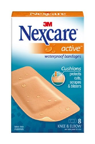 (Nexcare Active Extra Cushion Bandages, Knee and Elbow, Ideal For Exposure to Water, 8-Count Packages (Pack of 6))