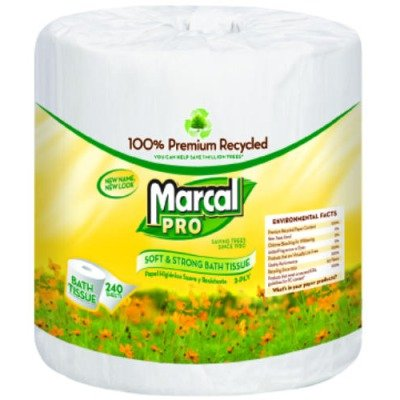MarcalPro 3001 White 100% Premium Recycled 2-Ply Bath Tissue Roll, 504 sheets (Case of 48) (Marcal Premium Bath Tissue)