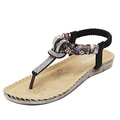 Bohemian Sandals,Boomboom 2019 Summer Bohemia Ankle T Strap Thong Shoes Ladies Strappy Flip Flops Sandals (Black,US 6.5)