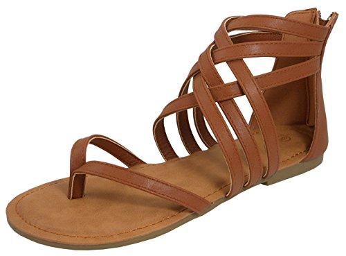 Cambridge Select Women's Crisscross Strappy Cutout Gladiator Thong Flat Sandal (8 B(M) US, Tan)