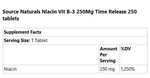 Source Naturals - mg. niacina 250 vitamina B-3 250 - 250 tabletas ...