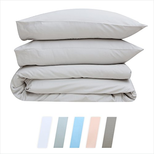 Full Quilt Cover Duvet (Best Hotel Luxury Bedding 3-Piece Full/Queen Light Grey Duvet Cover Set, 400 TC 100% Long-Staple Combed Cotton Soft, Silky & Breathable Duvet Cover Set, Perfect Cover for your Down Comforter)