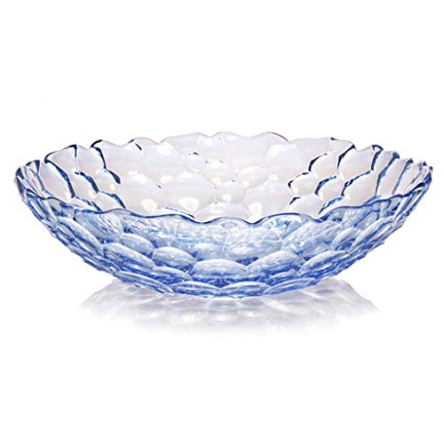 Fruit Bowls Fruit Bowl Fruit Plate Fruit Basket Large Capacity Fruit Bowl Crystal Glass Fruit Plate Creative Decorative Fruit Plate Fruit Bowls (Color : Blue)
