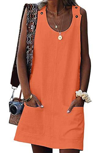 Wxnow Women's Summer Round Neck Sleeveless Dress Straight Button Casual Mini Skirt B-Orange XL