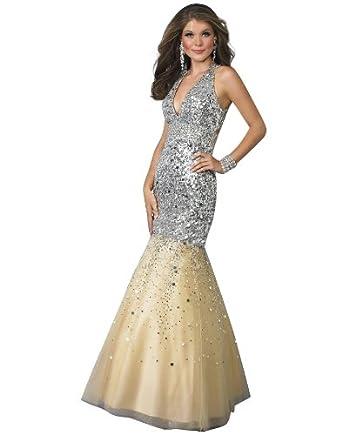 f01f01af0b Amazon.com  Landa Style 104 Silver Prom Dress