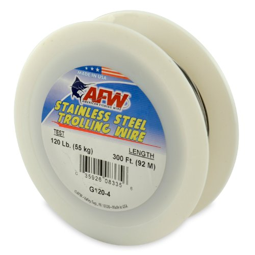 - American Fishing Wire Stainless Steel Trolling Wire (Single Strand), Bright Color, 120 Pound Test, 300-Feet