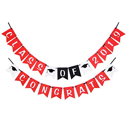 LINGPAR Class of 2019 Congrats Banner - Perfect Graduation Decorations Party Supplies for Grad Party Bunting Red White Black