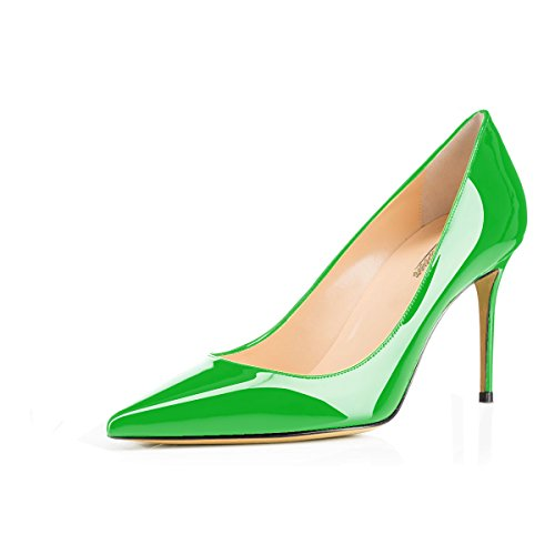 Slip Heels Women's Pumps Modemoven 85mm on High Stiletto Office Toe Pointed Green Shoes Sexy Business wRZxqxAI