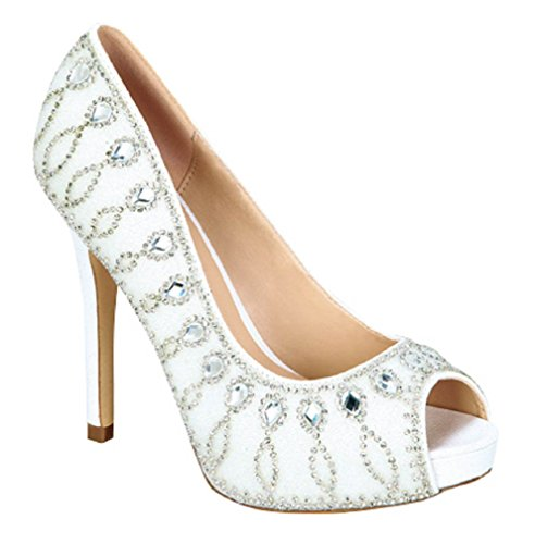 De Blossom Collection Donna Tesoro-29 Open Peep Toe Dressy Tacco A Spillo Piattaforma Stiletto Tacco Pompa Bianca