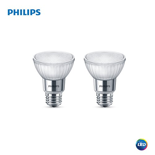 Philips 477471 LED Classic Glass Dimmable PAR20 40-Degree Spot Light Bulb with Warm Glow Effect 500-Lumen, 2200-3000-Kelvin, 7 (50-Watt Equivalent), E26 Base, Bright White, 2 Pack