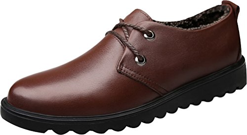 Abby QZYYU-4003 Mens Antiskidding Moccasins Party Bussiness Comfy Lightweight Shoes Lace Up Penny Loafers Round Toe Breathable Formal Oxfords Brown(Wool Inside) US Size9.5 C9Isff