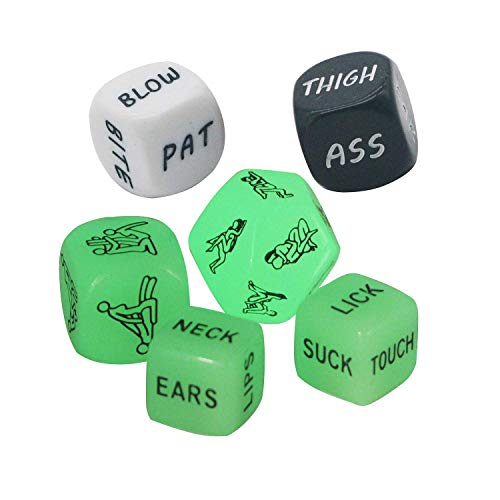 Funny and Romantic Role Playing Dice Luminous Dice Game Set of 6,Novelty Gift for Honeymoon bacherette Party,Him and Her, Bridal Shower, Groom Roast,Newlyweds, Wedding, Anniversary, Marriage -