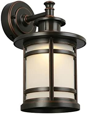 Home Decorators Collection Oil-Rubbed Bronze Motion Sensor Outdoor Integrated LED Medium Wall Mount Lantern
