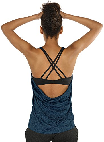 (icyzone Workout Tank Tops Built in Bra - Women's Strappy Athletic Yoga Tops, Exercise Running Gym Shirts (M, Royal Blue))