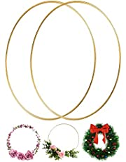 Large Metal Floral Hoop Wreath Macrame 12 Inch Gold Rings for Making Christmas Wedding Decor Dream Catcher Wall Hanging Embroidery Craft, Pack of 2