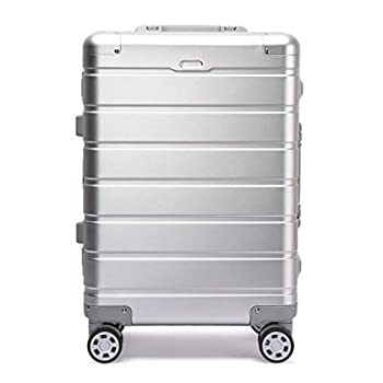 Image of All Aluminum Luxury Hard Case 20' Durable with 4 Wheel Spinner TSA Approved lock (Silver, 20)