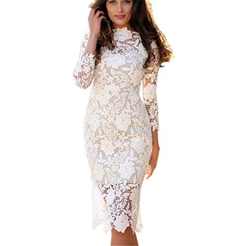 (FRCOLT Fashion Womens Sexy Lace Bodycon Pencil Dress Cocktail Prom Gown Tight Dress (S,)