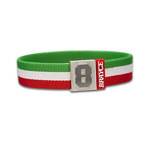 "fan products of BRAYCE Team Colors: Customize your jersey bracelet green/white/red with your player number (0-99) 7 sizes (6,3"" – 8,7""): Hockey, Baseball, Basketball & Football"