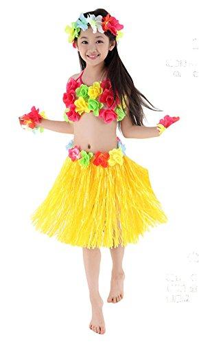 Fighting to Achieve Hawaiian Hula Dance Costume 5pcs for Girls (Tahitian Yellow Bracelet)