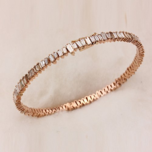 Diamond Bracelet Baguette Bangle (Natural Baguette Diamond 18k Solid Rose Gold Handmade Bangle Bracelet Jewelry)
