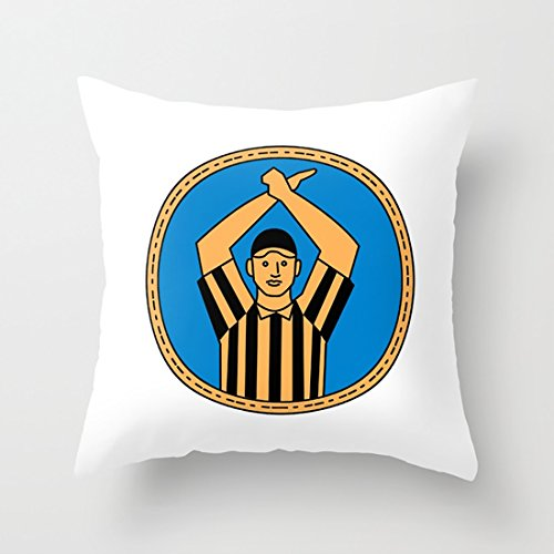 Pillow Case American Football Umpire Hand Signal Circle Mono Line Cushion with 18 x 18In for Home Decoration Sofa and Chairs ()