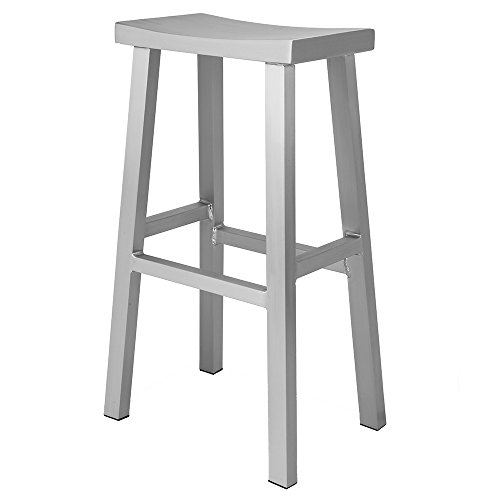 Renovoo Aluminum Saddle Seat Bar Stool, Brushed Aluminum Finish, 30 inches Seat Height, Indoor Outdoor Use, 1 Pack (Source Outdoor Furniture Contract)