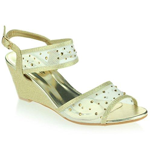 Mujer Señoras Medio Tacón de Cuña Diamante Detalle Slingback Verano Noche Fiesta Boda Prom Nupcial Sandalias Zapatos Talla Oro