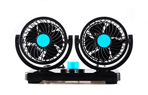 360 Degree Rotatable Powerful Quiet 2 Speed Adjustable Dual Head Car Auto Cooling Air Fan 12V Ventilation Dashboard Electric Car Fans Summer Cooling Air Circulator