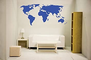 Amazon blue newclew world map wall decal blue vinyl art blue newclew world map wall decal blue vinyl art sticker home dcor large gumiabroncs Gallery