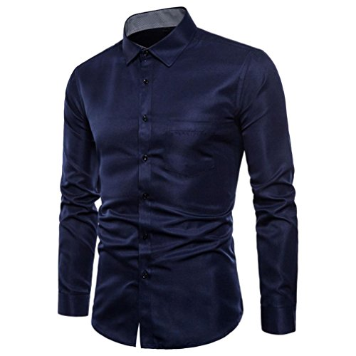 Lounge Oxford Summer (YJYDADA Top Blouse,Mens Long Sleeve Oxford Formal Casual Suits Slim Fit Tee Dress Shirts Blouse Top (Navy, M))