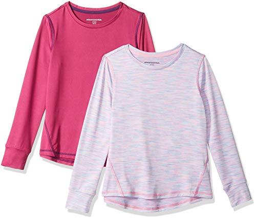 Amazon Essentials Big Girls' 2-Pack Long-Sleeve Active Tee, Fuchsia/Purple Spacedye, XL (12)