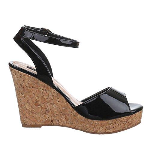 Sandales Noir Design femme Noir Ital BxO7nq