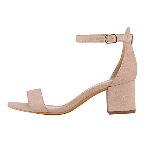 Women Heeled Footwear Sandals High (Women's Heeled Sandals Ankle Strap Chunky High Heels 5CM Open Toe Low Sandals Bridal Party Shoes Velvet Nude Size 6.5)