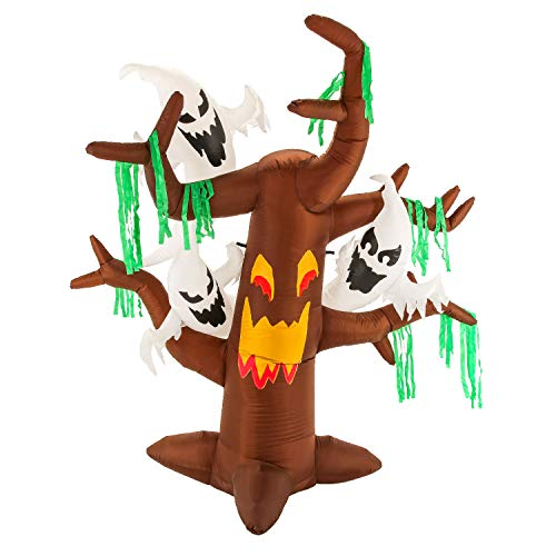 Halloween Haunters 6 Foot Inflatable Scary Face Dead Tree with Spooky White Ghosts and LED Lights Indoor Outdoor Yard Lawn Prop Decoration - Blow Up Gravyard Haunted House Party Display - Boo