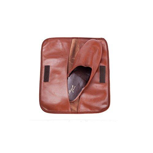 Al Bagatt Esclusive Pantofole Uomo in Pelle da Viaggio con Custodia Colore Marrone Artigianali Nuove Made in Italy Holgura Con Tarjeta De Crédito vkhF7Wra