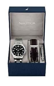 Nautica  N-A15599G - Reloj de cuarzo para hombre, con correa de acero inoxidable, color plateado