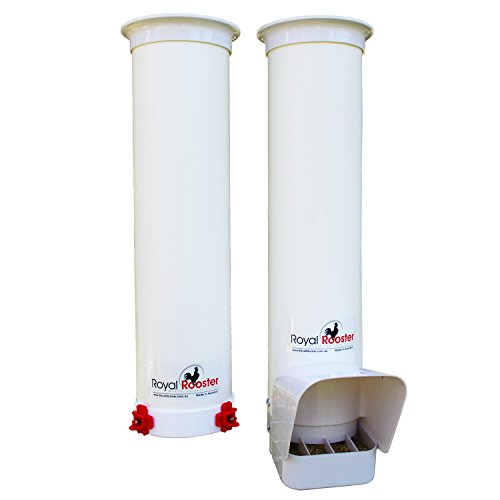 Royal Rooster Chicken Feeder with Rain Cover and Twin Side-Mount Nipple Waterer Set – 6.5lbs / 1 gal.