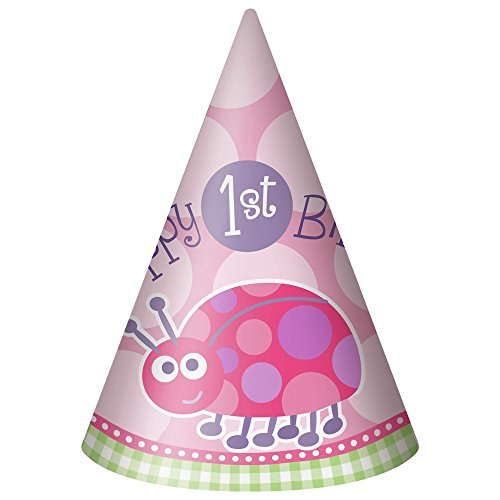 [First Birthday Ladybug Party Hats (8-pack)] (Pink Lady Costume Images)