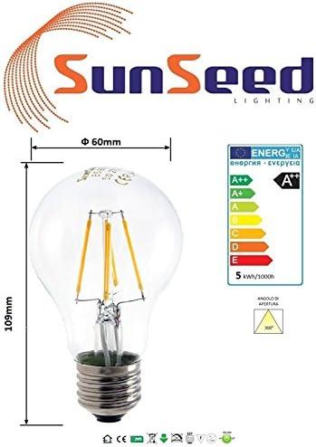 SunSeed® 10x Glühfaden LED classic Lampe E27 5W ersetzt 60W Warmweiß 2700K