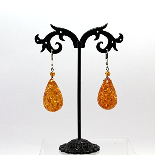 (Handmade Baltic Amber Silver Plated Leverback Earrings)