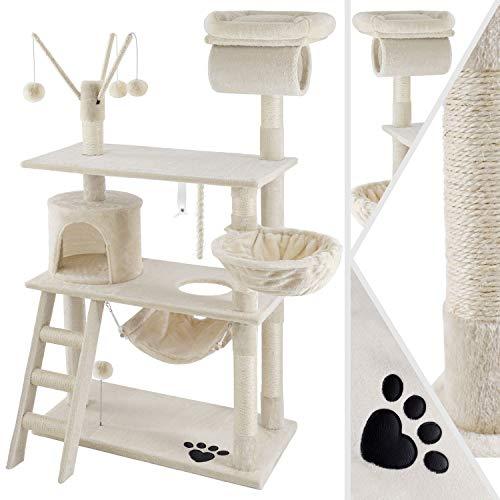 KESSER® Kratzbaum Katzenbaum Kletterbaum, mit Hängematte, Sisalstämmen, Stabil extra breit, Treppe, Höhle, Spielbälle…